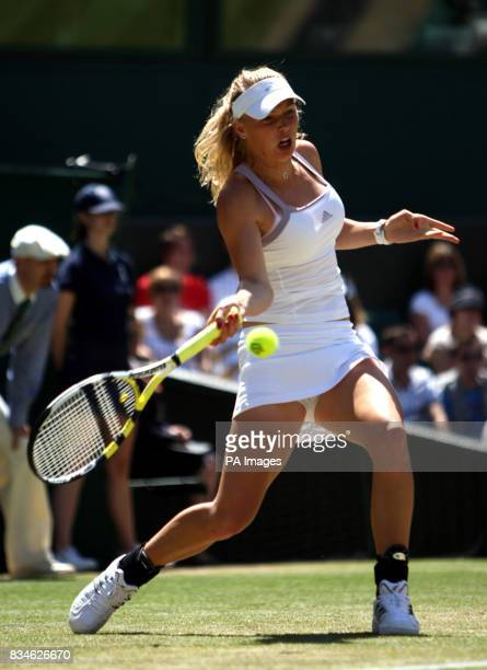 Denmark's Caroline Wozniacki in action against Serbia's Jelena Jankovic during the Wimbledon Championships 2008 at the All England Tennis Club in...