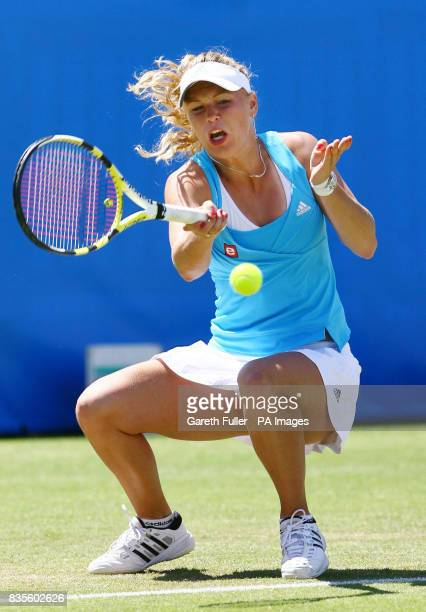 Denmark's Caroline Wozniacki in action during her quarter final match against Russia's Ekaterina Makarova during the AEGON International at...