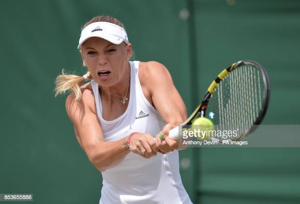 Denmark's Caroline Wozniacki in her match against Croatia's Ana Konjuh during day five of the Wimbledon Championships at the All England Lawn Tennis...