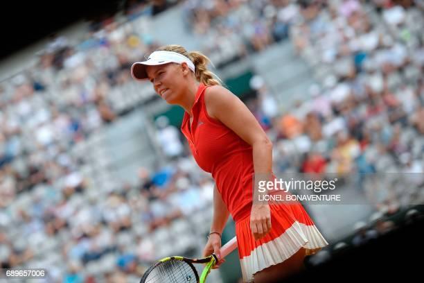 Denmark's Caroline Wozniacki reacts after a point against Australia's Jaimee Fourlis during their tennis match at the Roland Garros 2017 French Open...