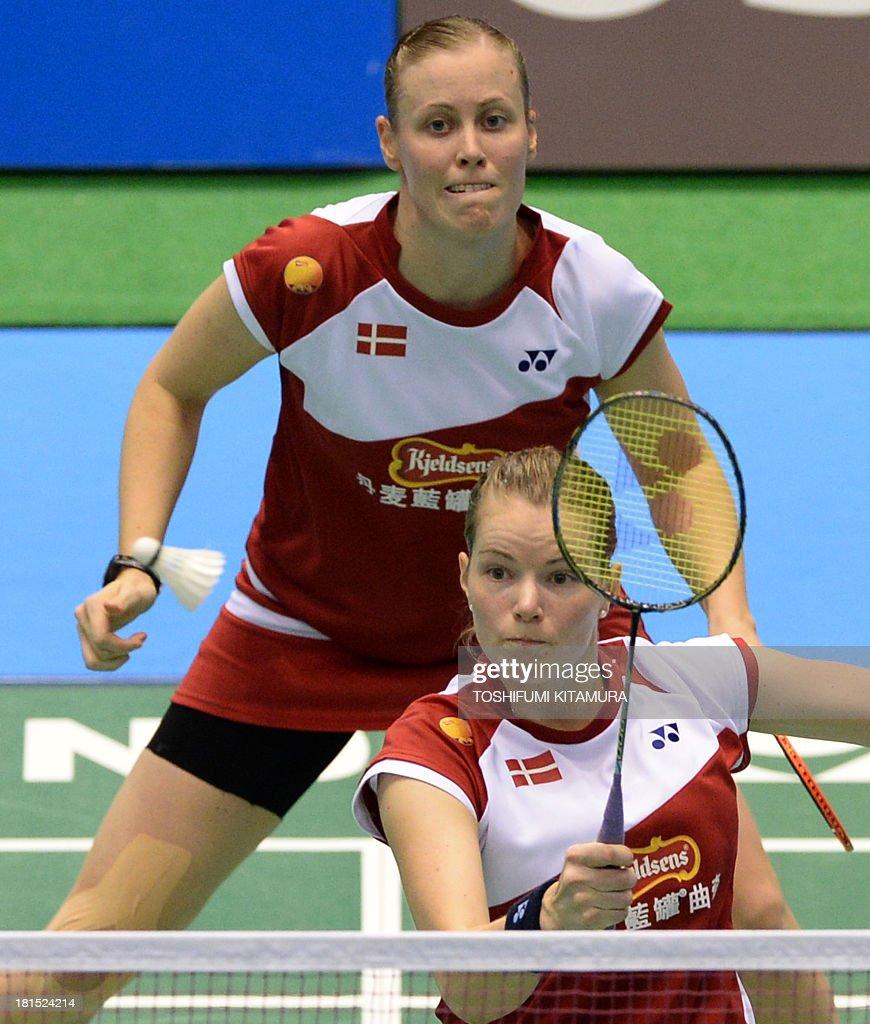 Denmark s Christina Pedersen bottom hits a return in front of