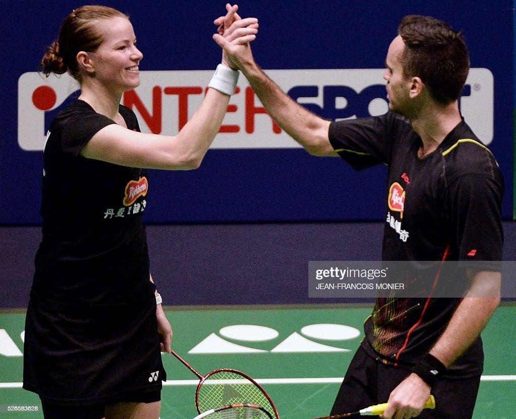 Denmark s Christina Pedersen L teammate Joachim Nielsen R