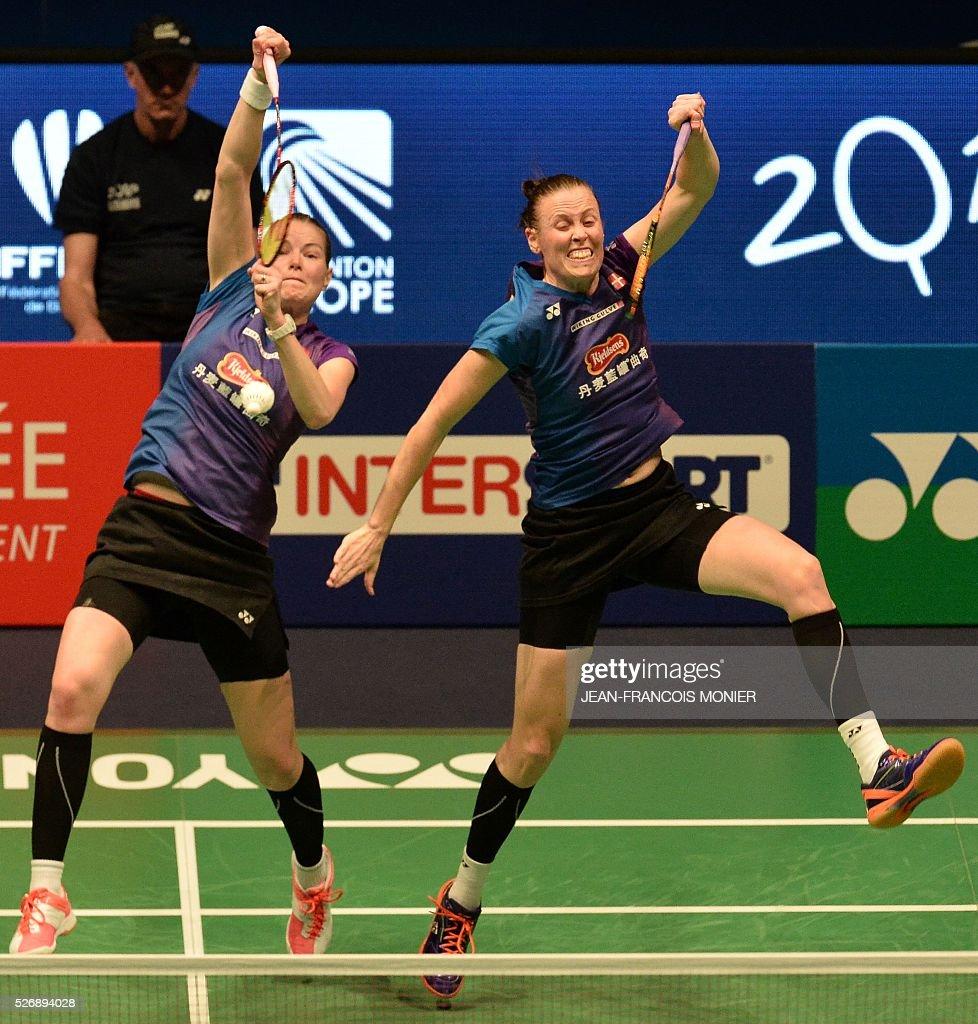 Denmark s Christinna Pedersen L and teammate Kamilla Rytter Juhl