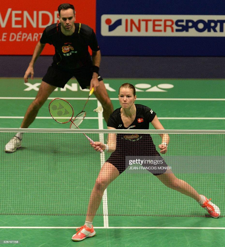 Denmark s Christinna Pedersen front flanked by teammate Joachim