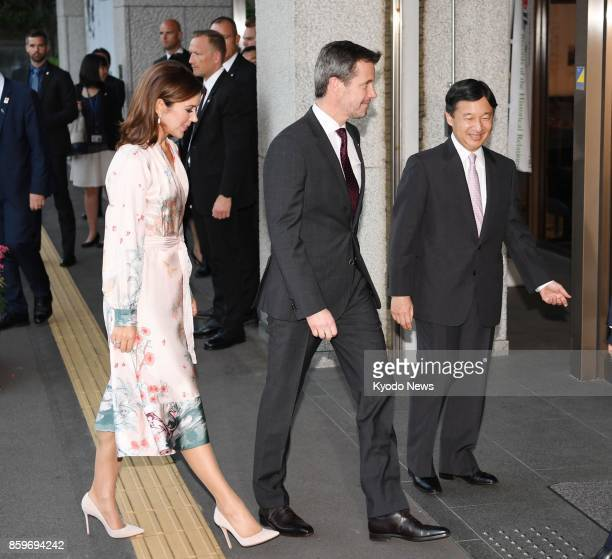 Denmark's Crown Prince Frederik and Crown Princess Mary are greeted by Japan's Crown Prince Naruhito at the National Archives of Japan in Tokyo on...
