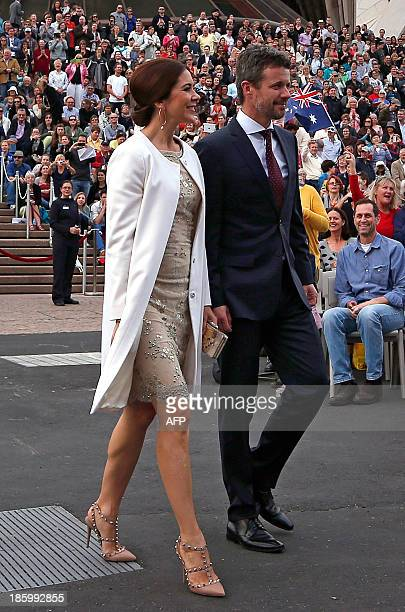 Denmark's Crown Prince Frederik and his Australian wife Crown Princess Mary arrive at the Sydney Opera House for a gala concert celebrating the 40th...