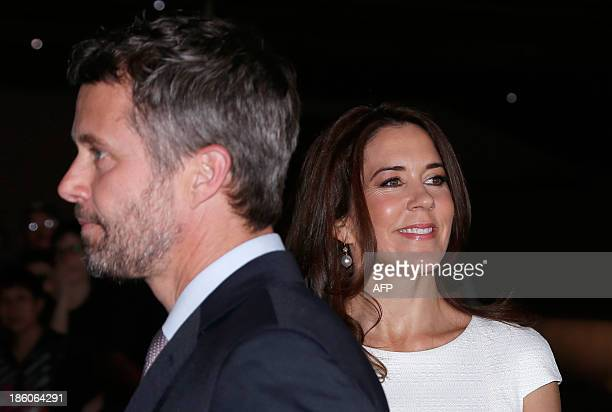 Denmark's Crown Prince Frederik and his Australian wife Crown Princess Mary arrive at the Sydney Opera House for a luncheon hosted by the...