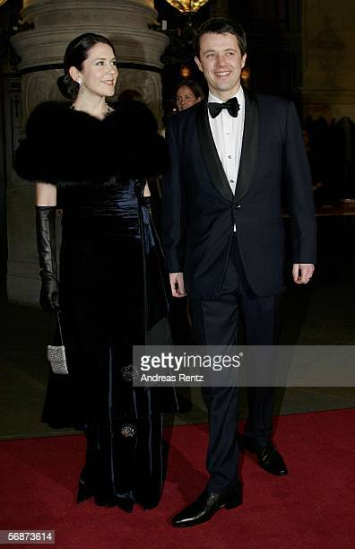Denmark's Crown Prince Frederik and his wife Crown Princess Mary arrive at the Mattiae feast on February 17 2006 in Hamburg northern Germany The...