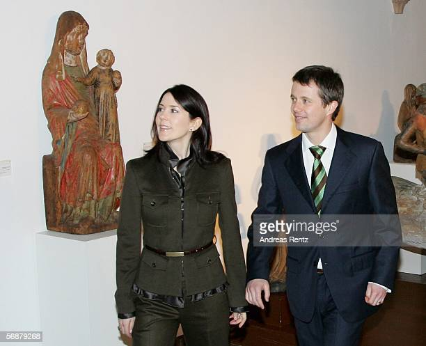 Denmark's Crown Prince Frederik and his wife Crown Princess Mary visit the Gothik style hall of the Gottorf Castel on February 18 2006 in Schleswig...
