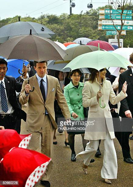 Denmark's Crown Prince Frederik Andre Henrik Christian and Australianborn Crown Princess Mary arrive at the Nordic pavilion at the 2005 World...