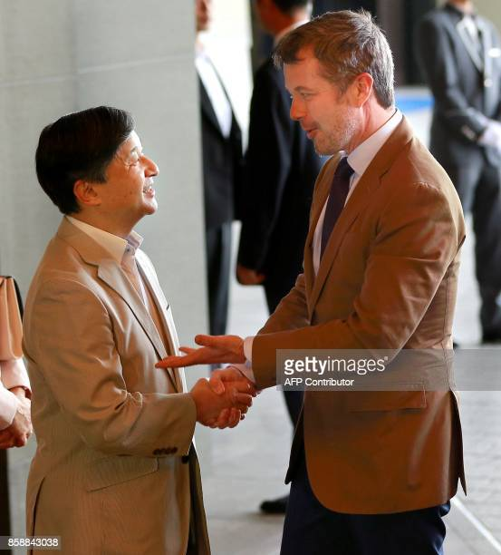 Denmark's Crown Prince Frederik is welcomed by Japan's Crown Prince Naruhito at a hotel in Tokyo on October 8 2017 / AFP PHOTO / POOL / Shizuo...