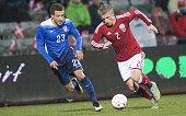 Denmark's Daniel Wass and USA's Fabian Johnson vie for the ball during the friendly football match Denmark vs USA in Aarhus Denmark on March 25 2015...