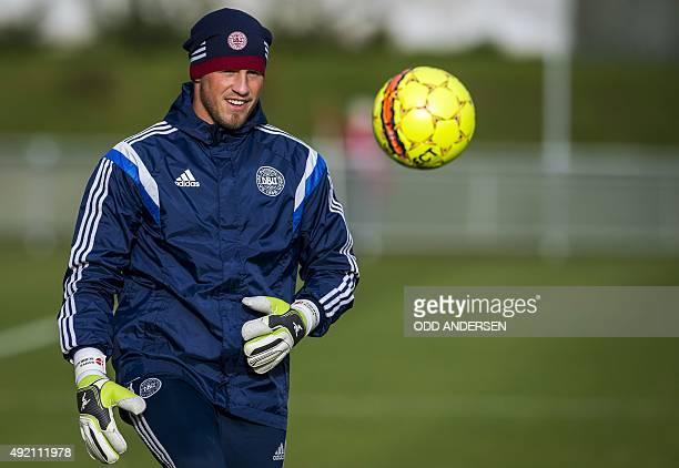 Denmark's Danish goalkeeper Kasper Schmeichel takes part in a training session of the Denmark national football team at the stadium in Helsingor on...