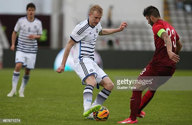 Denmark's defender Frederik Sorensen with Portugal's midfielder Sergio Oliveira during the U21 International Friendly between Portugal and Denmark on...