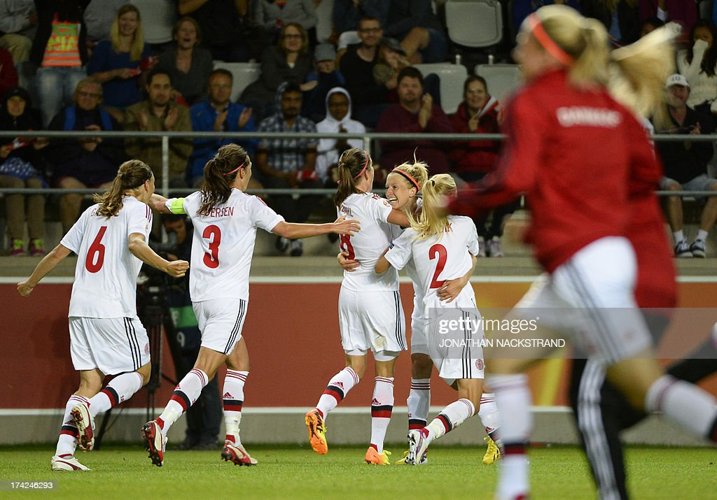 Denmark's defender Janni Arnth (C) celebrates with teammates after winning the penalty shootout of the UEFA Women's European Championship Euro 2013 quarter final football match France vs Denmark on July 22, 2013 in Linkoping, Sweden. AFP PHOTO/JONATHAN NACKSTRAND