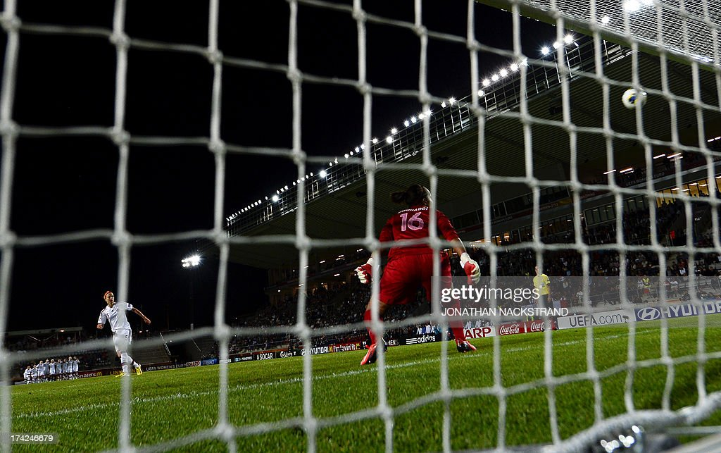 Denmark's defender Janni Arnth scores past France's goalkeeper Sarah Bouhaddi to win the penalty shootout of the UEFA Women's European Championship Euro 2013 quarter final football match France vs Denmark on July 22, 2013 in Linkoping, Sweden.