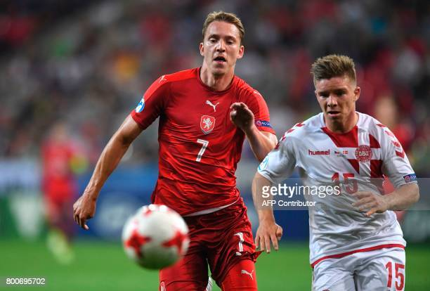 Denmark's defender Mads Pedersen and Czech Republic's forward Lukas Julis vie for the ball during the UEFA U21 European Championship Group C football...