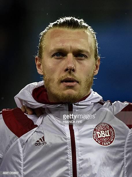 Denmark's defender Simon Kjær looks on before the friendly football match France vs Denmark on March 29 2015 at the GeoffroyGuichard stadium in...