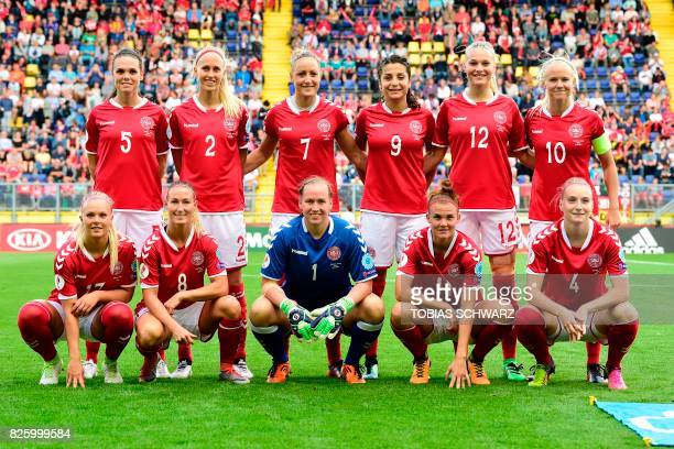 Denmark's defender Simone Boye Sorensen defender Line Roddik midfielder Sanne Troelsgaard forward Nadia Nadim forward Stine Larsen forward Pernille...