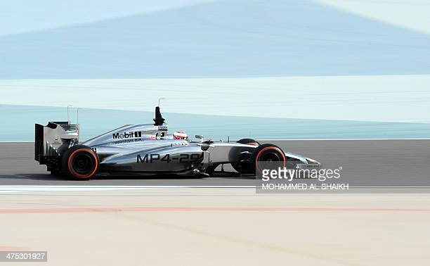 Denmark's driver Kevin Magnussen of McLaren team drives on February 27 2014 during a fourday testing period at Bahrain's Sakhir circuit ahead of the...