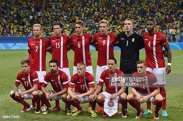 Denmark's footballers forward Frederik Borsting defender Blabjerg Mathiasen midfield Jens Jonsson forward Lasse Vibe and forward Bruun Larsen and...