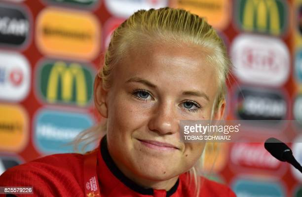 Denmark's forward and captain Pernille Harder attends a press conference on the eve of the UEFA Women's Euro 2017 football match between Denmark and...