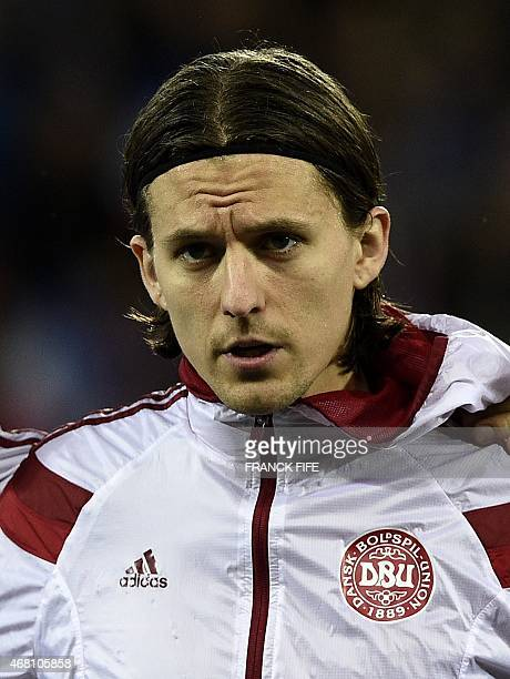 Denmark's forward Lasse Vibe looks on before the friendly football match France vs Denmark on March 29 2015 at the GeoffroyGuichard stadium in...