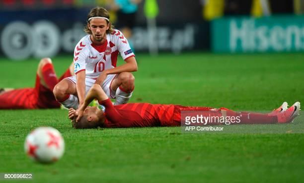 Denmark's forward Lucas Andersen attends to Czech Republic's midfielder Vaclav Cerny the UEFA U21 European Championship Group C football match Czech...