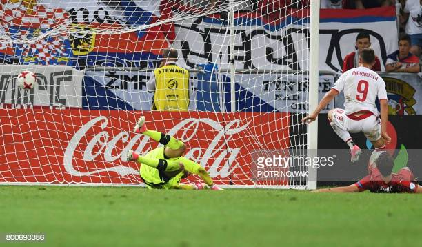 Denmark's forward Marcus Ingvartsen scores the fourth goal past Czech Republic's goalkeeper Lukas Zima during the UEFA U21 European Championship...