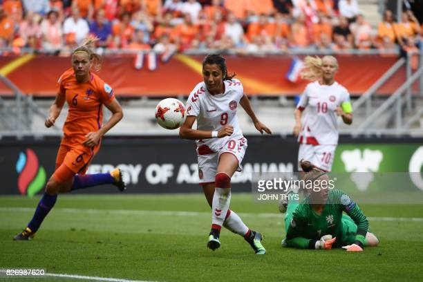 Denmark's forward Nadia Nadim eyes the ball as she controls it during the UEFA Womens Euro 2017 football tournament final match between Netherlands...