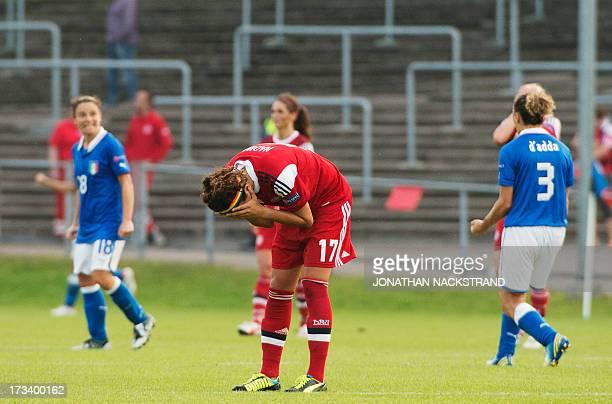 Denmark's forward Nadia Nadim reacts after loosing the UEFA Women's European Championship Euro 2013 group A football match Italy vs Denmark on July...