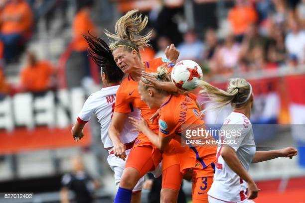 TOPSHOT Denmark's forward Nadia Nadim vies for the ball with Netherlands' defender Stephanie van der Gragt during the UEFA Womens Euro 2017 football...