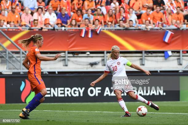 Denmark's forward Pernille Harder scores a goal during the UEFA Womens Euro 2017 football tournament final match between Netherlands and Denmark at...