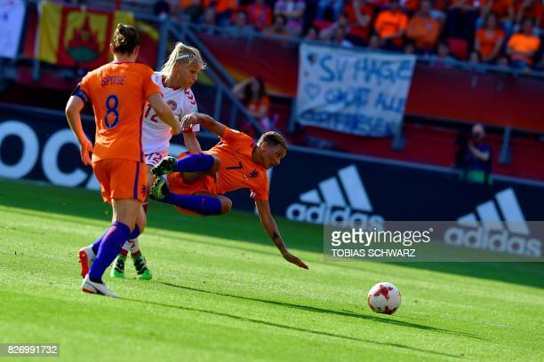 Denmark's forward Stine Larsen vies for the ball with Netherlands' forward Shanice van de Sanden during the UEFA Womens Euro 2017 football tournament...