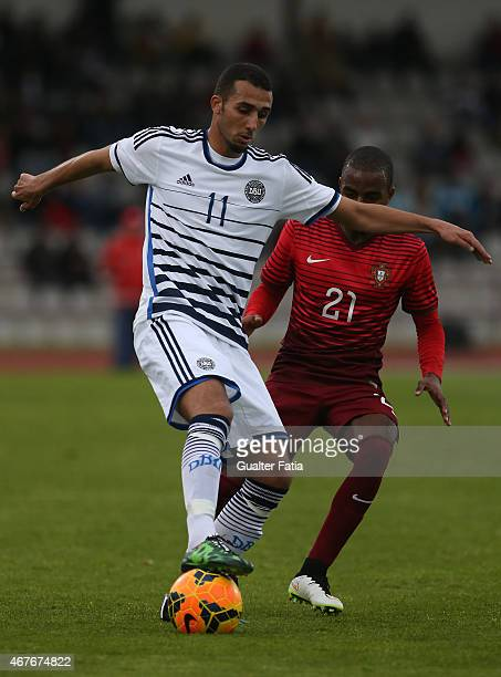 Denmark's forward Youssef Toutouh with Portugal's defender Ricardo Pereira during the U21 International Friendly between Portugal and Denmark on...