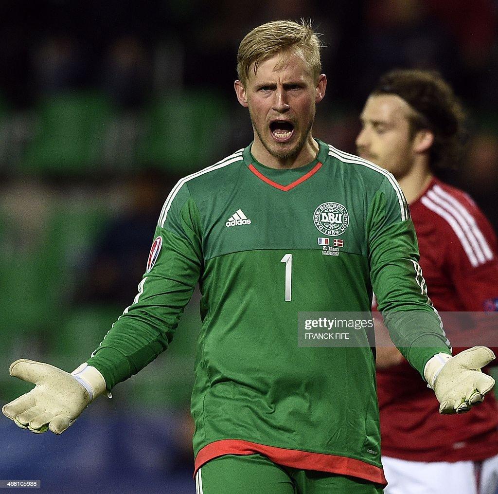 Denmark s goalkeeper Kasper Schmeichel reacts during the friendly