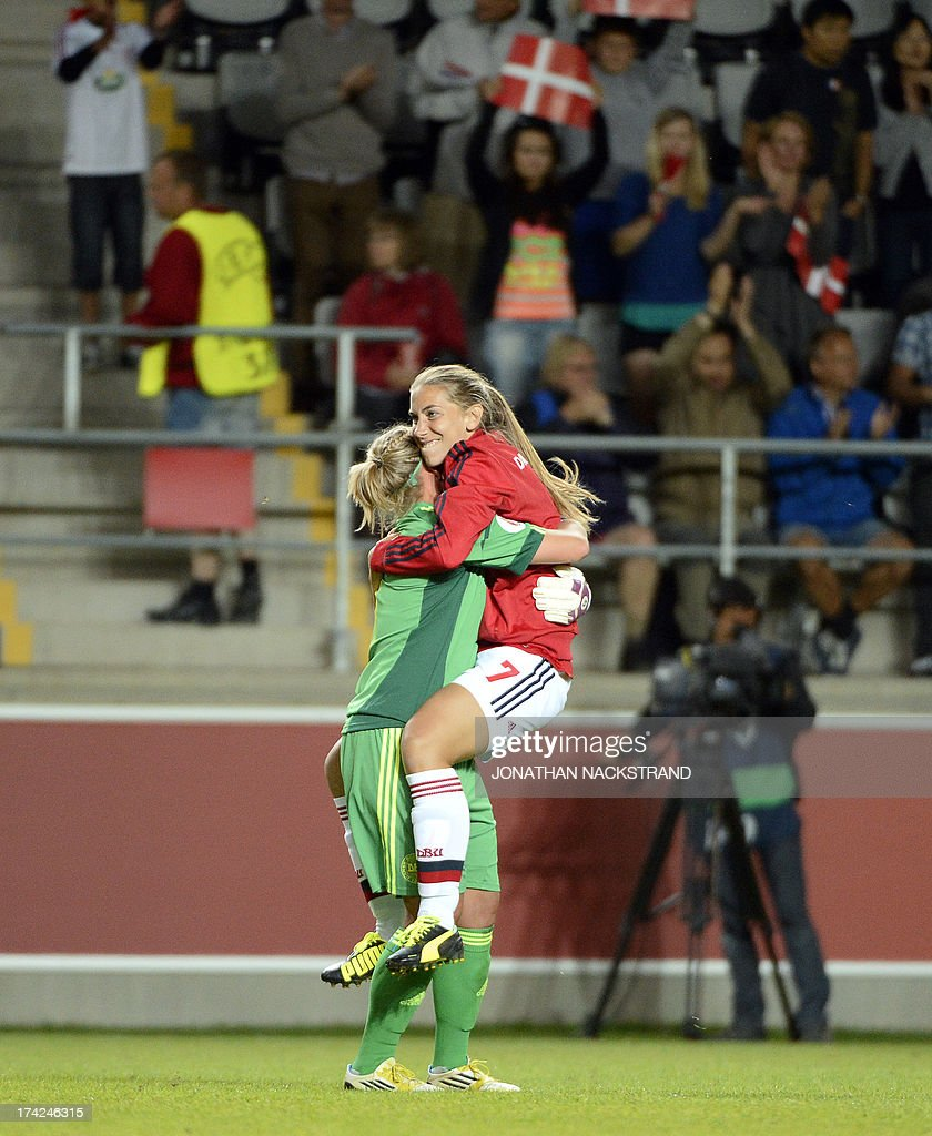 Denmark's goalkeeper Stina Petersen and forward Emma Madsen celebrate after winning in the penalty shootout the UEFA Women's European Championship Euro 2013 quarter final football match France vs Denmark on July 22, 2013 in Linkoping, Sweden. AFP PHOTO/JONATHAN NACKSTRAND