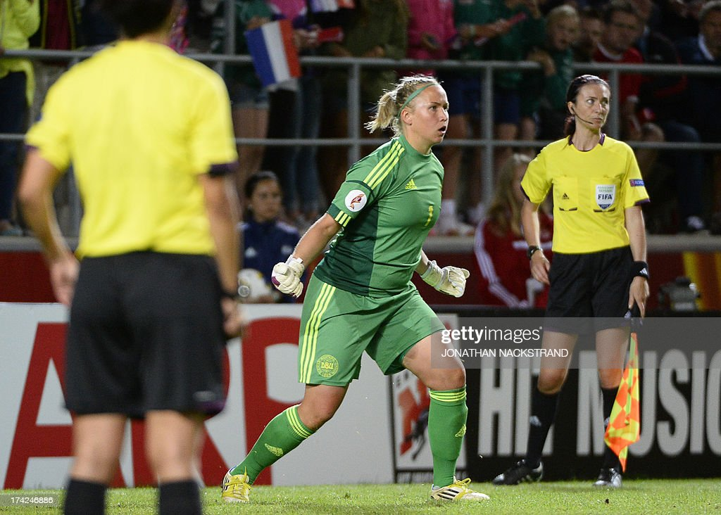 Denmark's goalkeeper Stina Petersen reacts during penalty shootout of the UEFA Women's European Championship Euro 2013 quarter final football match France vs Denmark on July 22, 2013 in Linkoping, Sweden. AFP PHOTO/JONATHAN NACKSTRAND