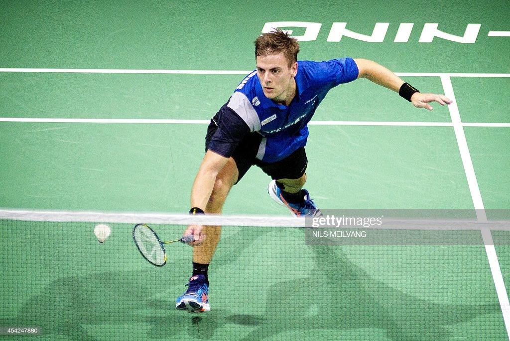 Denmark's Hans-Kristian Vittinghus in action during Mens single match in Badminton World Championship in Copenhagen on August 2, 2014. AFP PHOTO / Scanpix /Nils Meilvang / DENMARK OUT