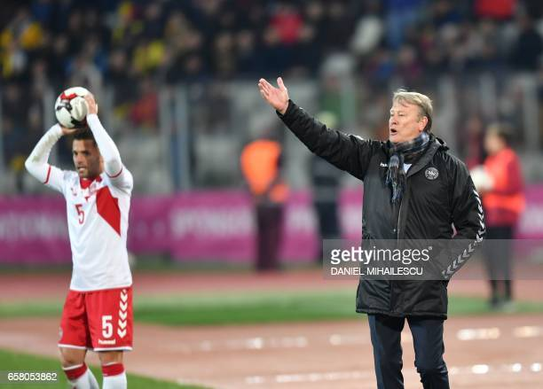 Denmark's head coach Aage Hareide reacts during the FIFA World Cup 2018 qualification football match between Romania and Denmark in ClujNapoca...
