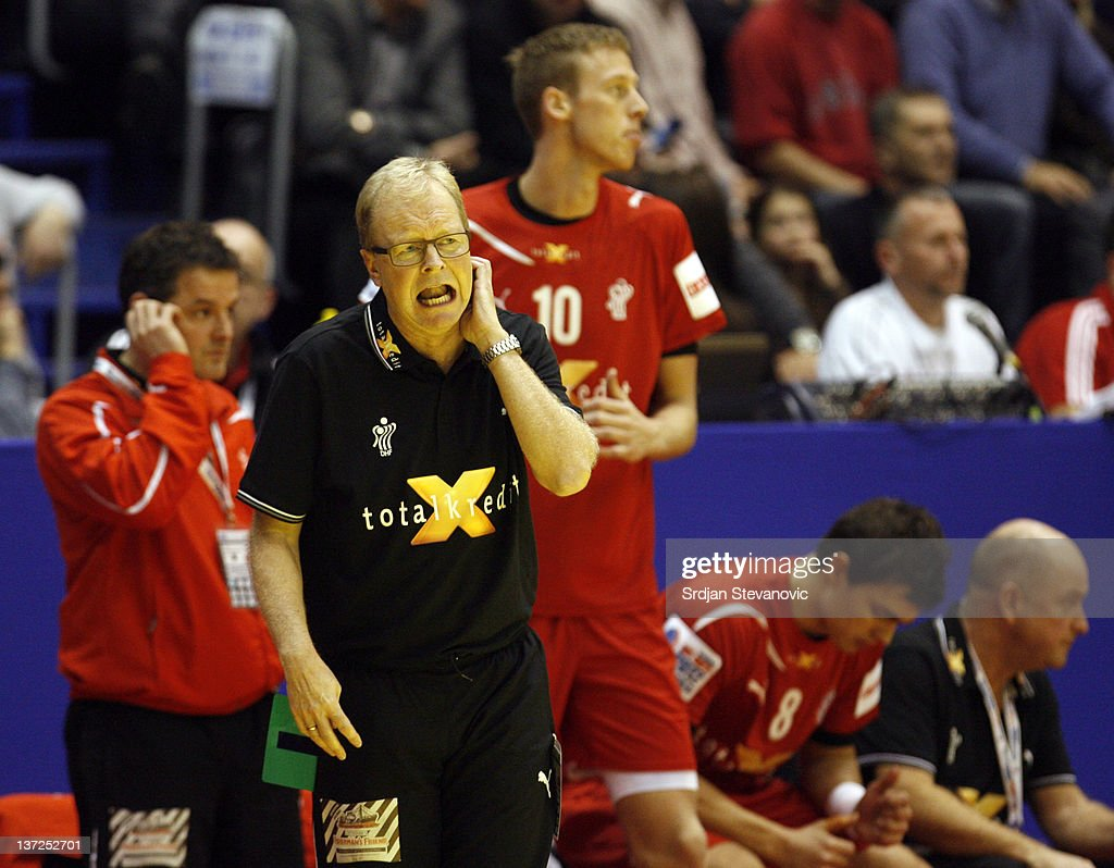 Denmark's head coach <a gi-track='captionPersonalityLinkClicked' href=/galleries/search?phrase=Ulrik+Wilbek&family=editorial&specificpeople=786340 ng-click='$event.stopPropagation()'>Ulrik Wilbek</a> reacts during the Men's European Handball Championship 2012 group A match between Serbia and Denmark at Pionir Arena on January 17, 2011 in Belgrade, Serbia.