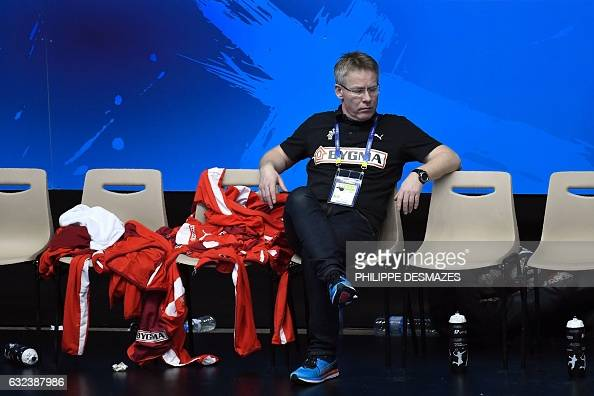 TOPSHOT Denmark's icelandic head coach Gudmundur Gudmundsson looks on after losing to Hungary the 25th IHF Men's World Championship 2017 eighth final...