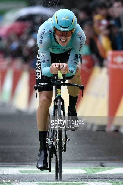 Denmark's Jakob Fuglsang crosses the finish line during a 14 km individual timetrial the first stage of the 104th edition of the Tour de France...