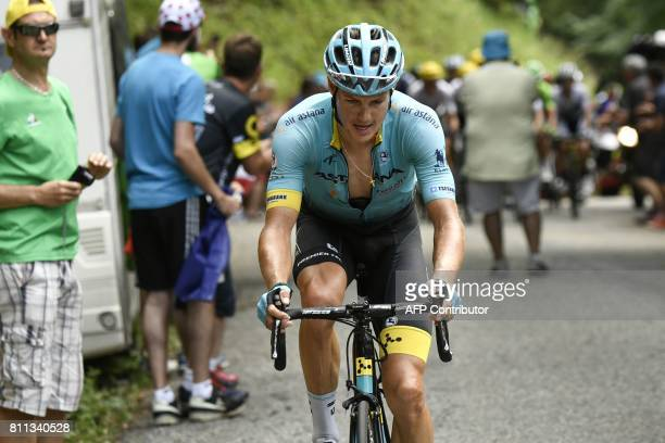 Denmark's Jakob Fuglsang rides in a breakaway during the 1815 km ninth stage of the 104th edition of the Tour de France cycling race on July 9 2017...