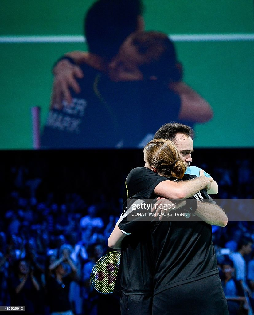 Denmark s Joachim Fischer Nielsen celebrates to her with his
