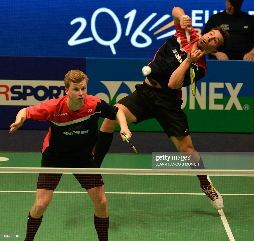 Denmark s Kim Astrup and Anders Skaarup Rasmussen hit a return to