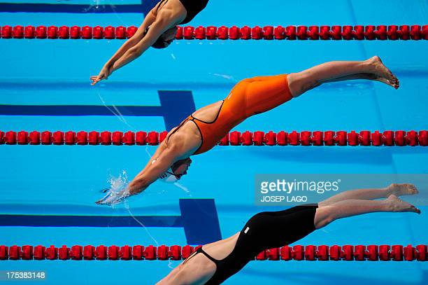 Denmark's Lotte Friis competes in the final of the women's 800metre freestyle swimming event in the FINA World Championships at Palau Sant Jordi in...