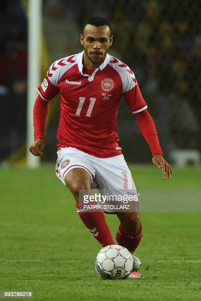 Denmark´s Martin Braithwaite plays the ball during the friendly football match between Denmark and Germany in Brondby Denmark on June 6 2017 / AFP...