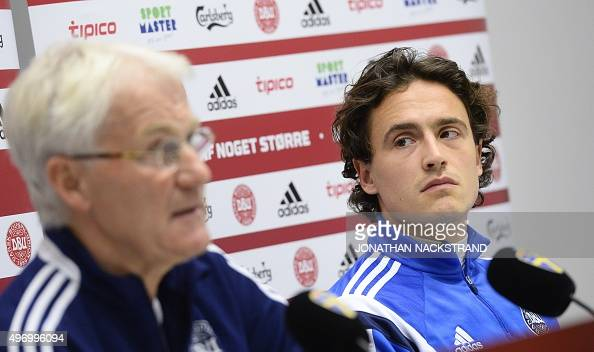 Denmark's national football team head coach Morten Olsen and midfielder Thomas Delaney give a press conference at the Friends Arena in Solna near...