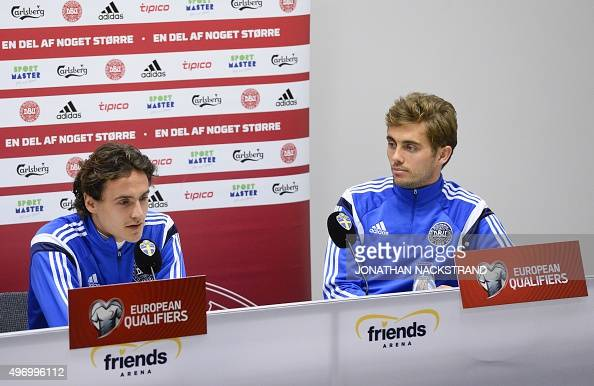 Denmark's national football team players midfielder Thomas Delaney and midfielder Jakob Poulsen give a press conference at the Friends Arena in Solna...